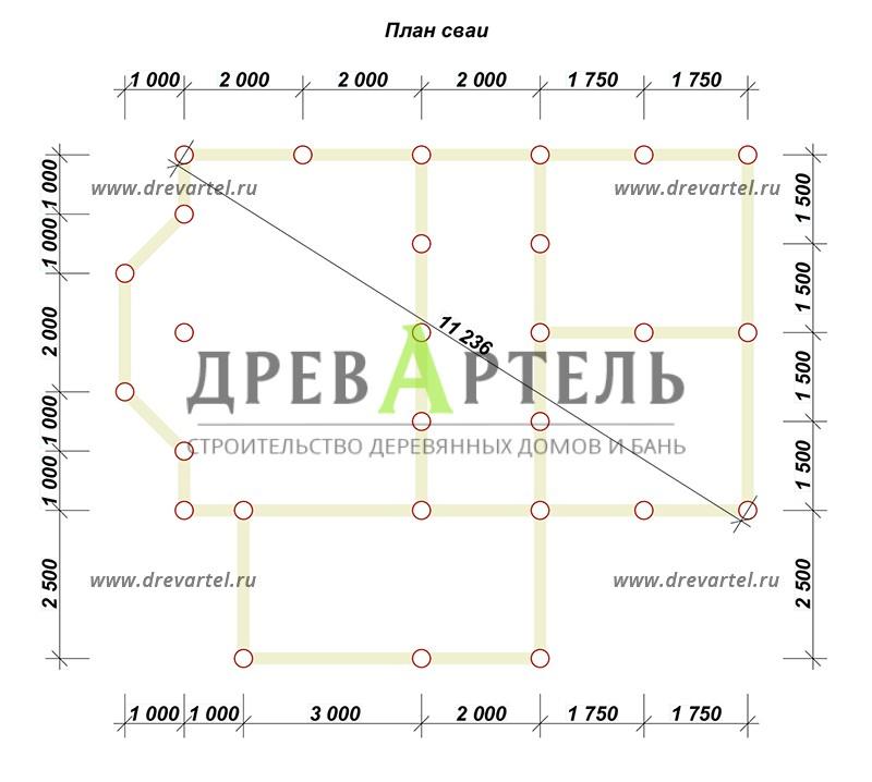 План свайного фундамента - Дом из бруса 6х9 с ломаной крышей