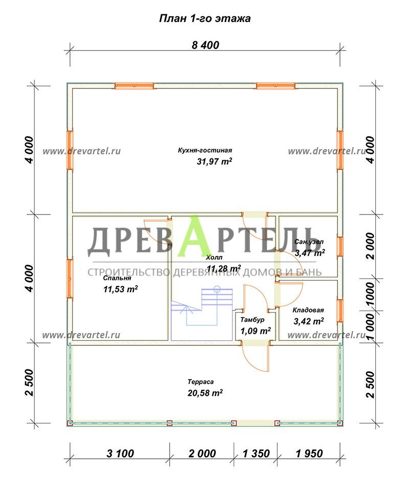 План 1-го этажа - Дачный дом из бруса 8х8