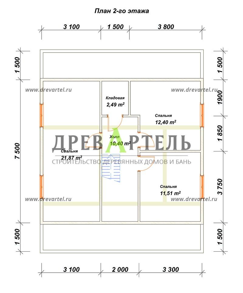 План 2-го этажа - Дачный дом из бруса 8х8