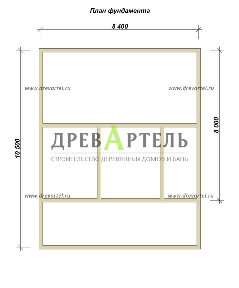 План ленточного фундамента - Дачный дом из бруса 8х8