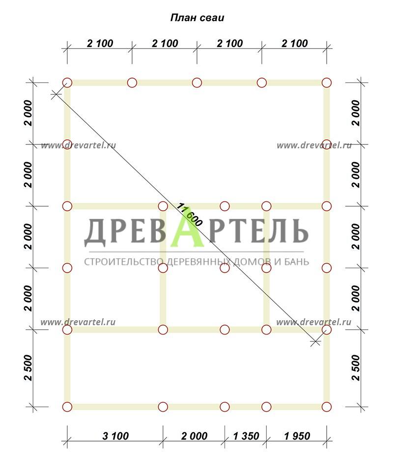 План свайного фундамента - Дачный дом из бруса 8х8