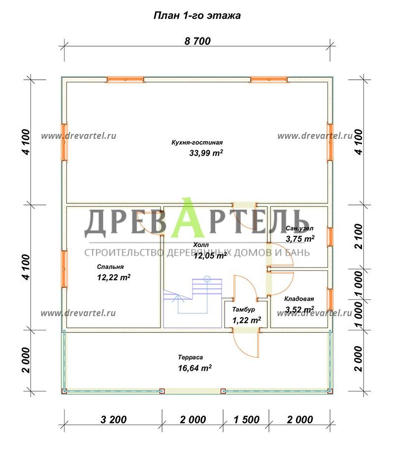 План 1-го этажа - Дачный дом из бруса 8х8 с мансардой