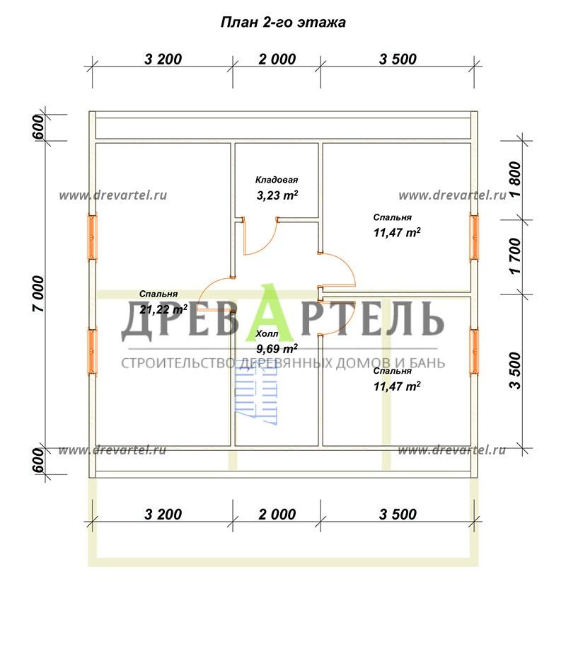 План 2-го этажа - Дачный дом из бруса 8х8 с мансардой