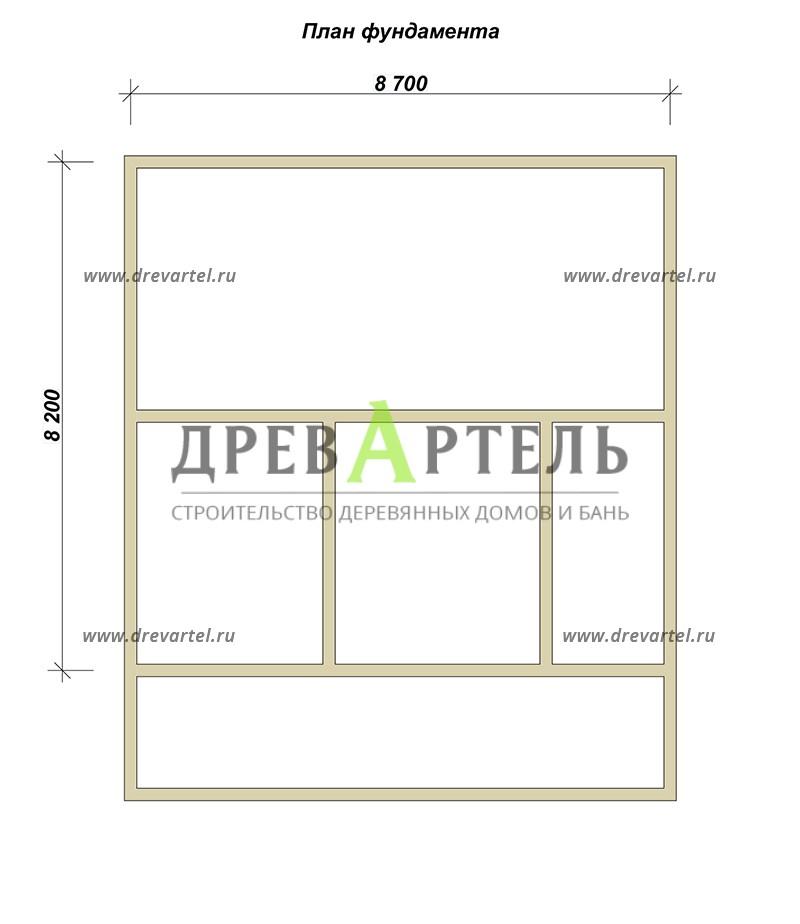 План ленточного фундамента - Дачный дом из бруса 8х8 с мансардой