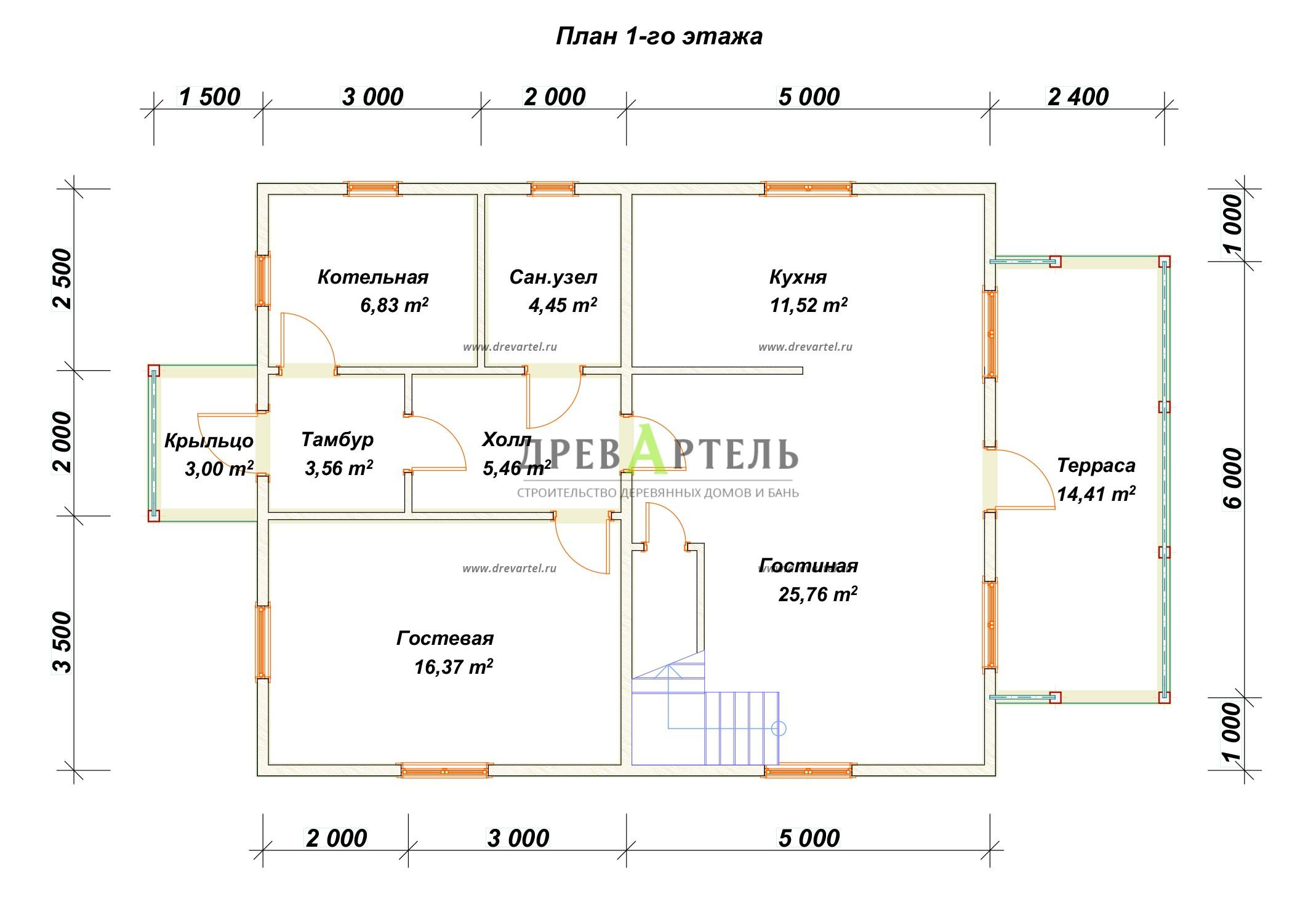 План 1-го этажа - Проект дома 8х10 с мансардой