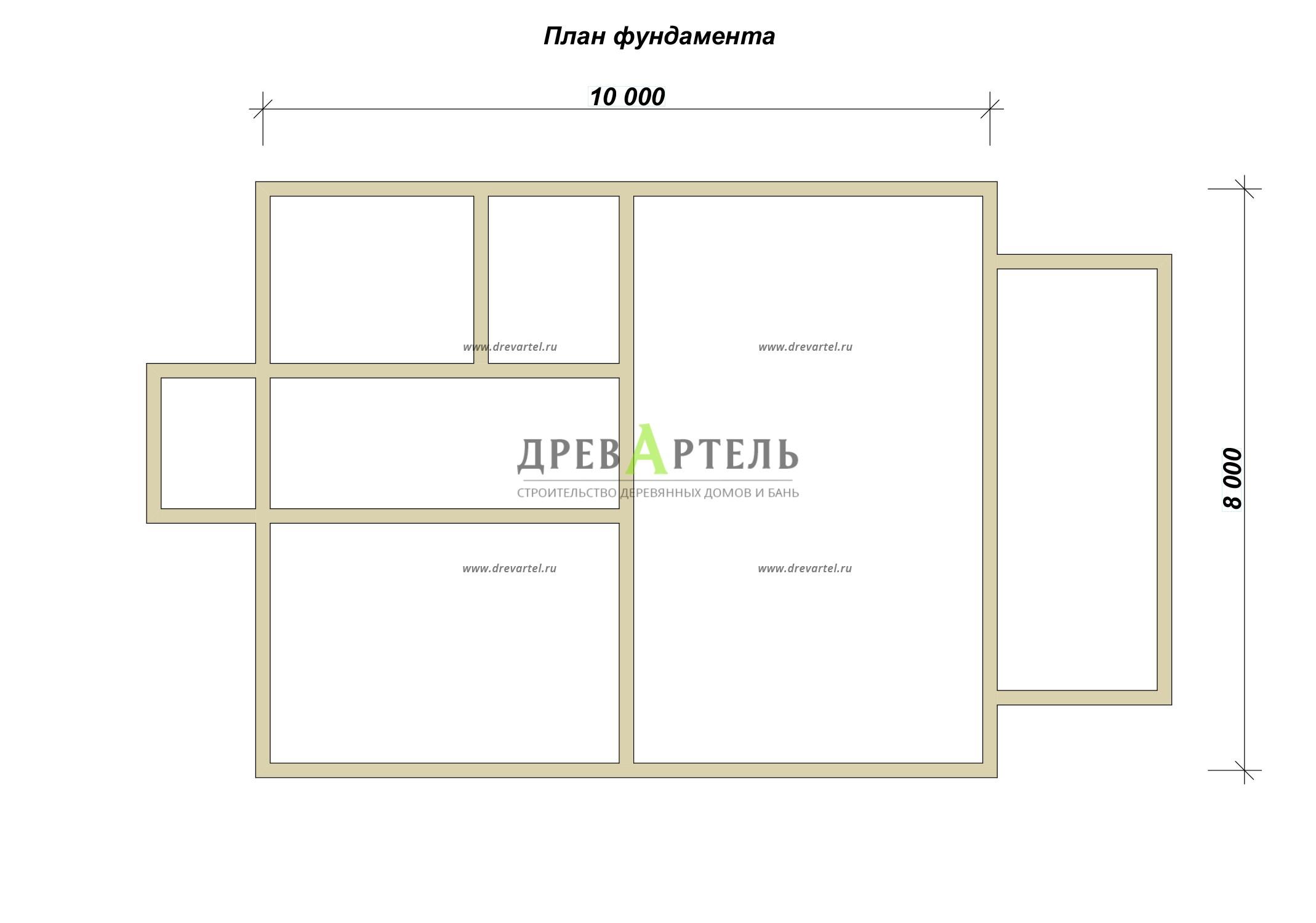 План ленточного фундамента - Проект дома 8х10 с мансардой