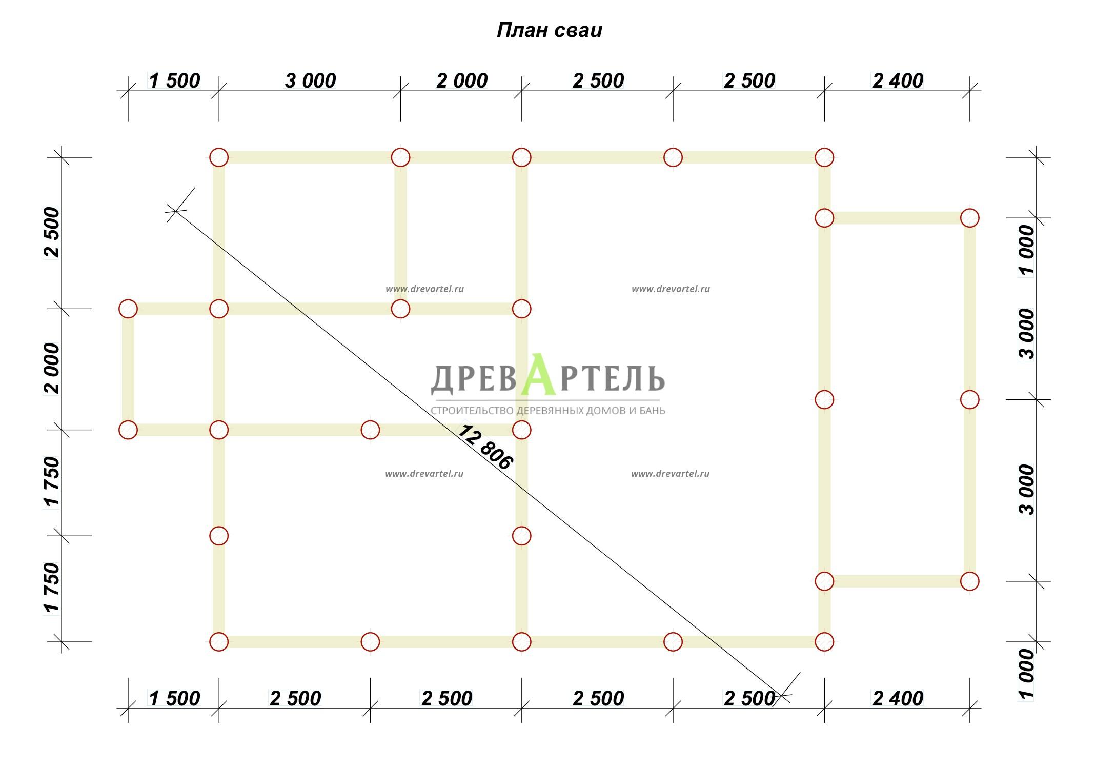 План свайного фундамента - Проект дома 8х10 с мансардой