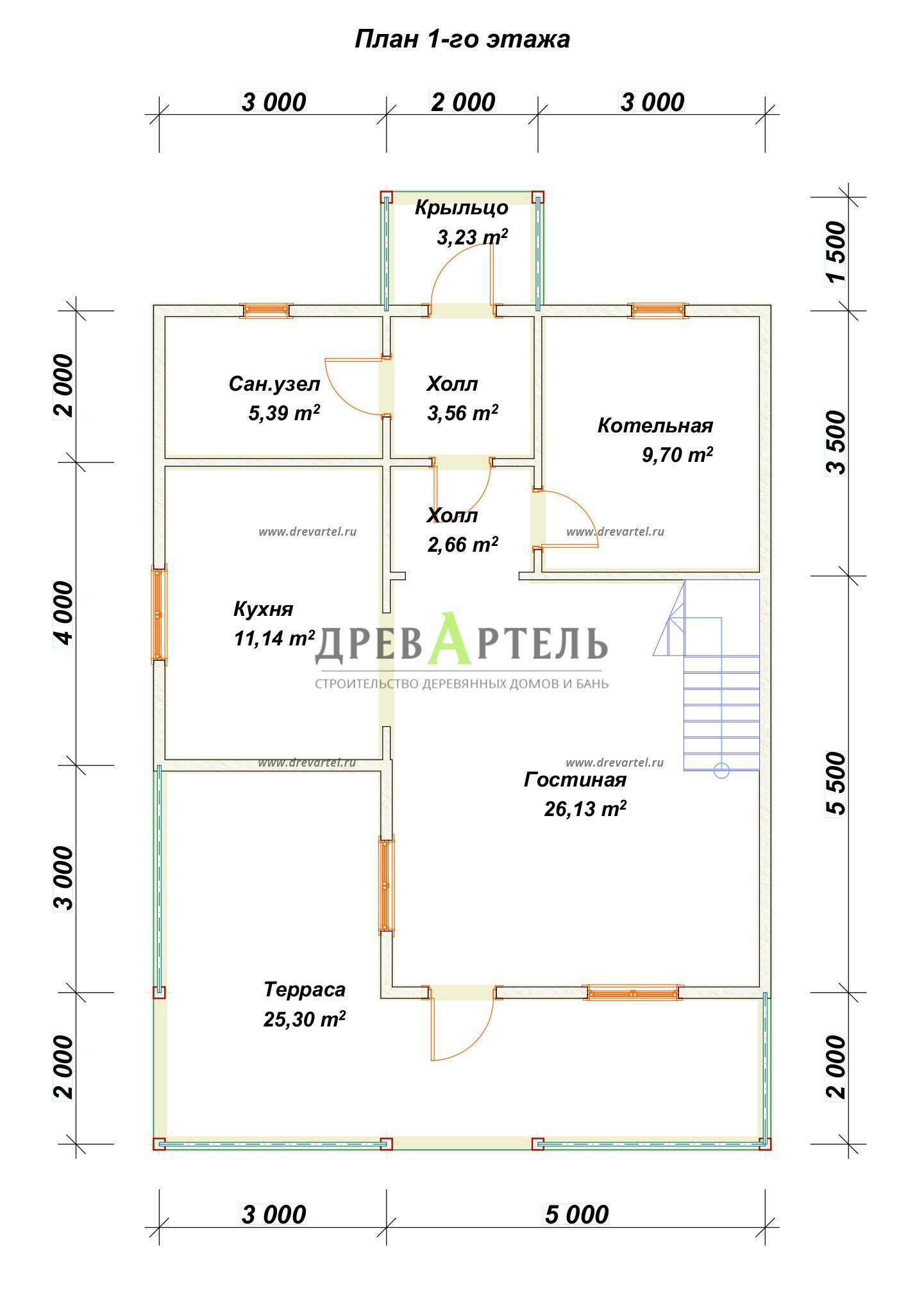 План 1-го этажа - Брусовой дом 8х9 с мансардой