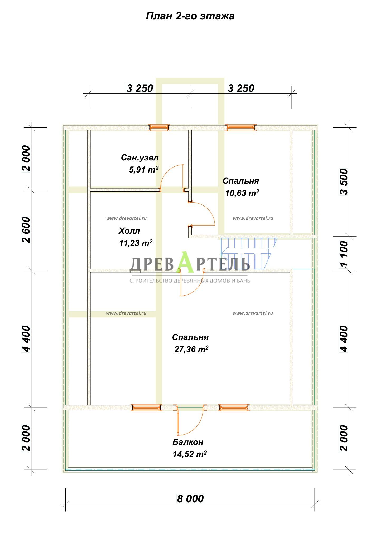 План 2-го этажа - Брусовой дом 8х9 с мансардой