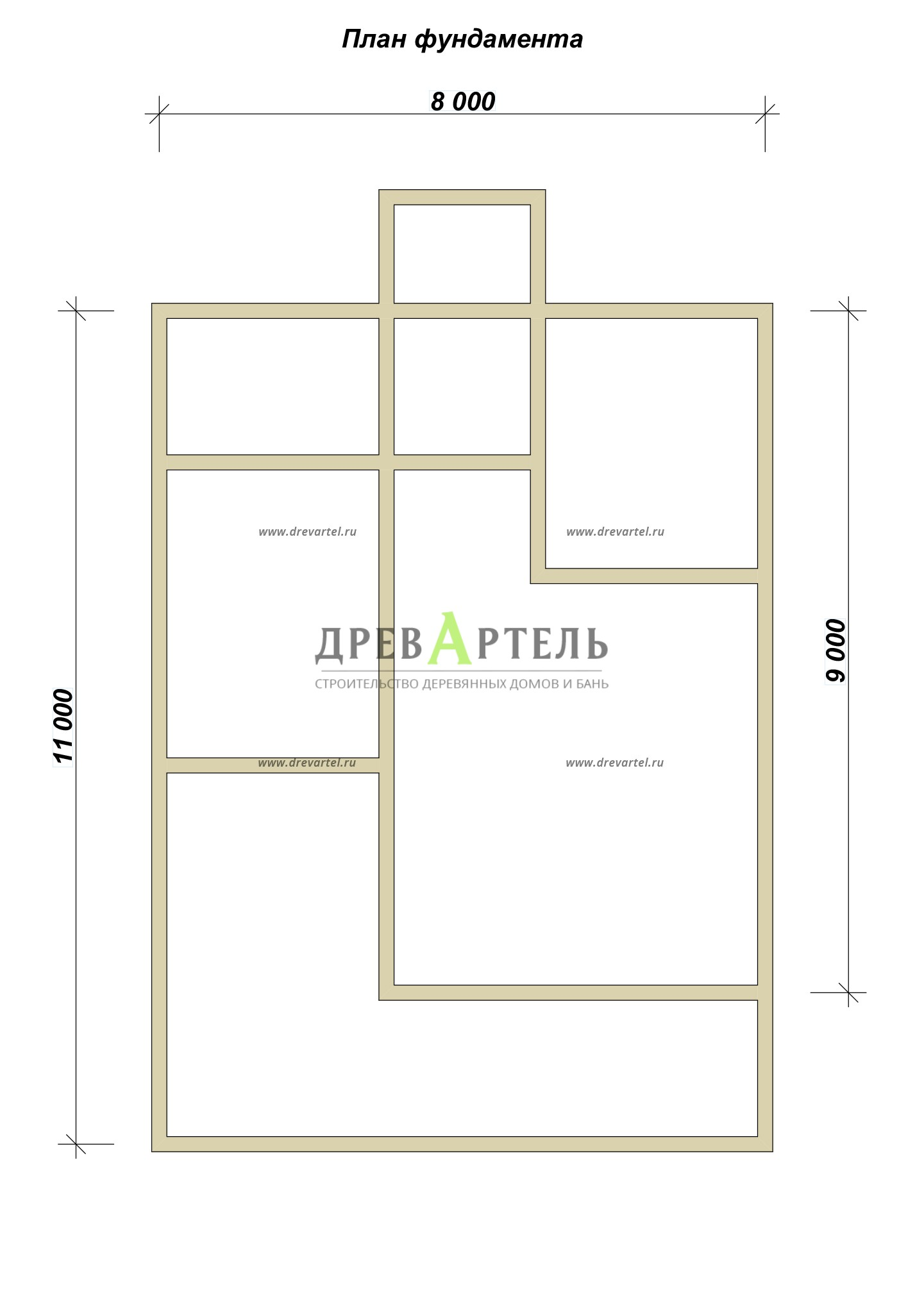 План ленточного фундамента - Брусовой дом 8х9 с мансардой