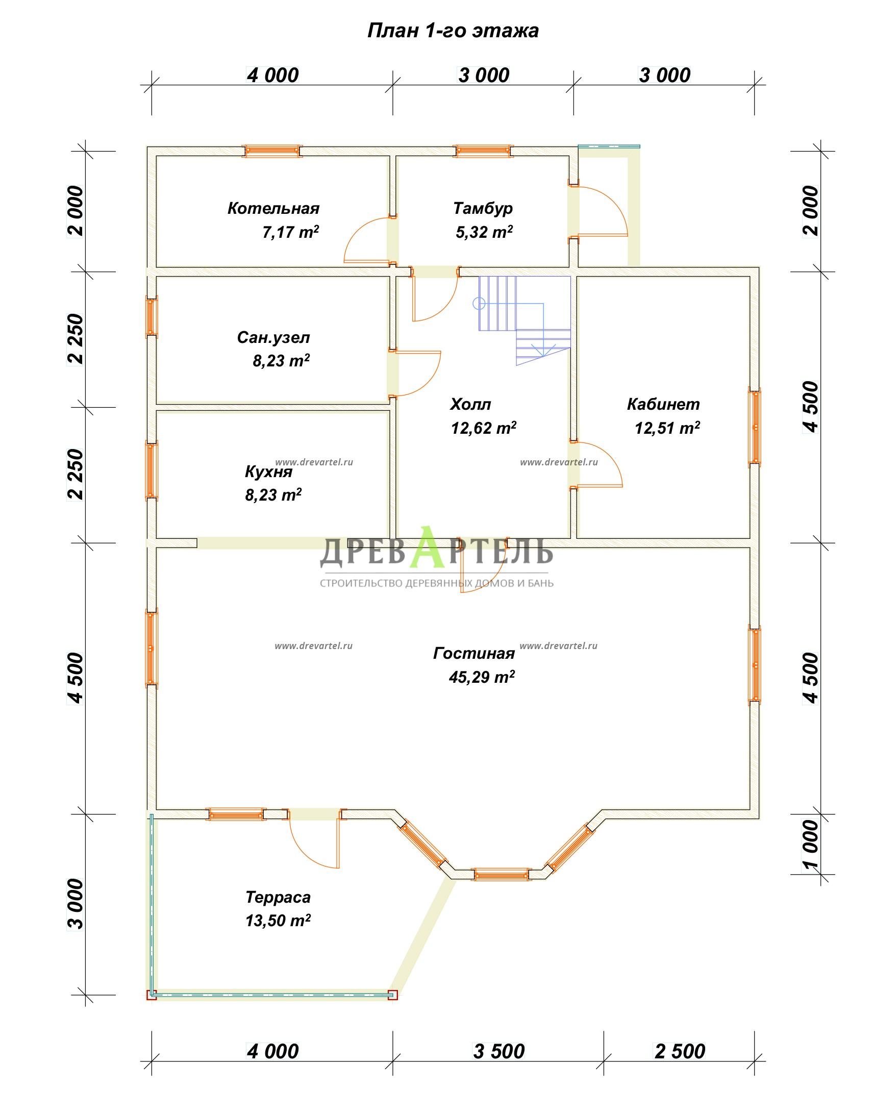 План 1-го этажа - Дом из бруса 9х10 с котельной