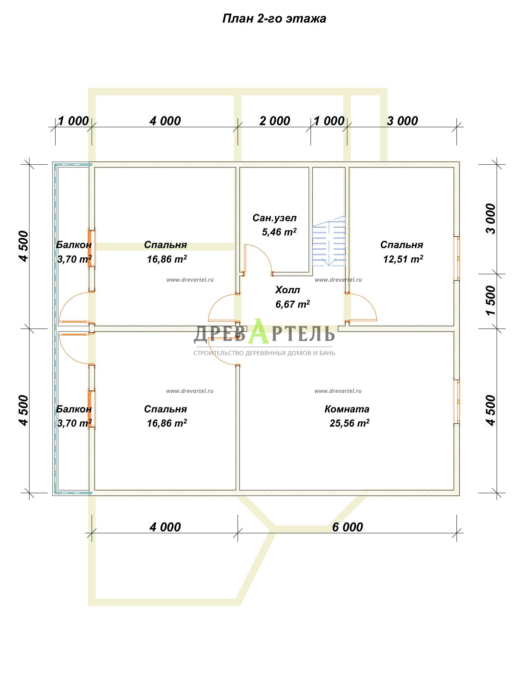 План 2-го этажа - Дом из бруса 9х10 с котельной