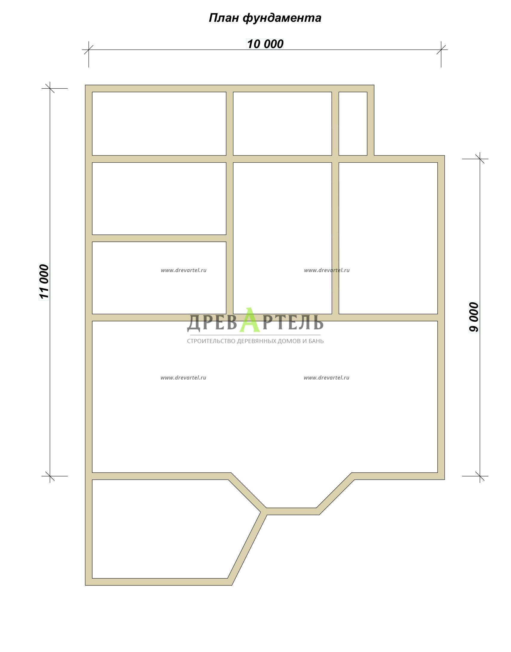 План ленточного фундамента - Дом из бруса 9х10 с котельной