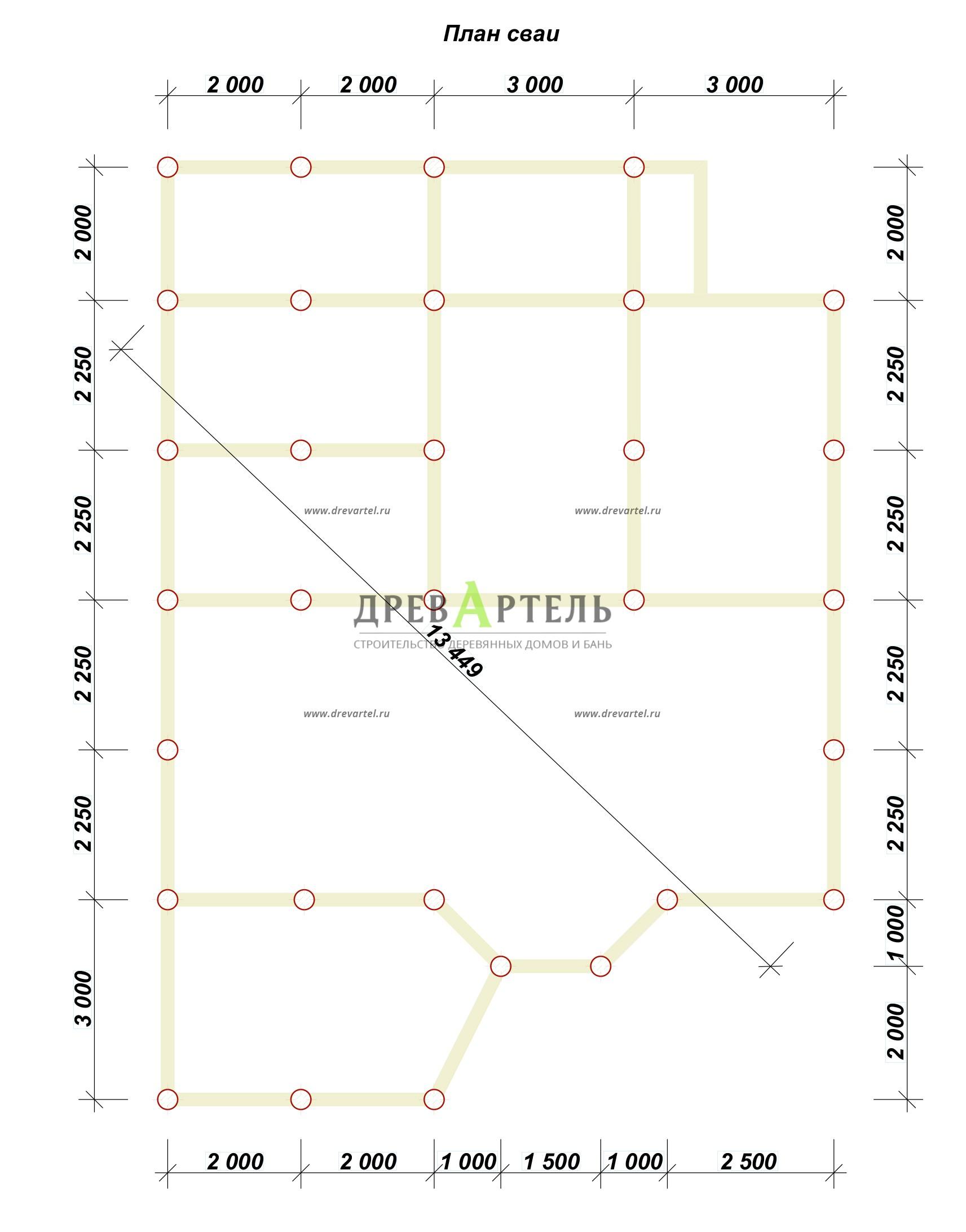План свайного фундамента - Дом из бруса 9х10 с котельной