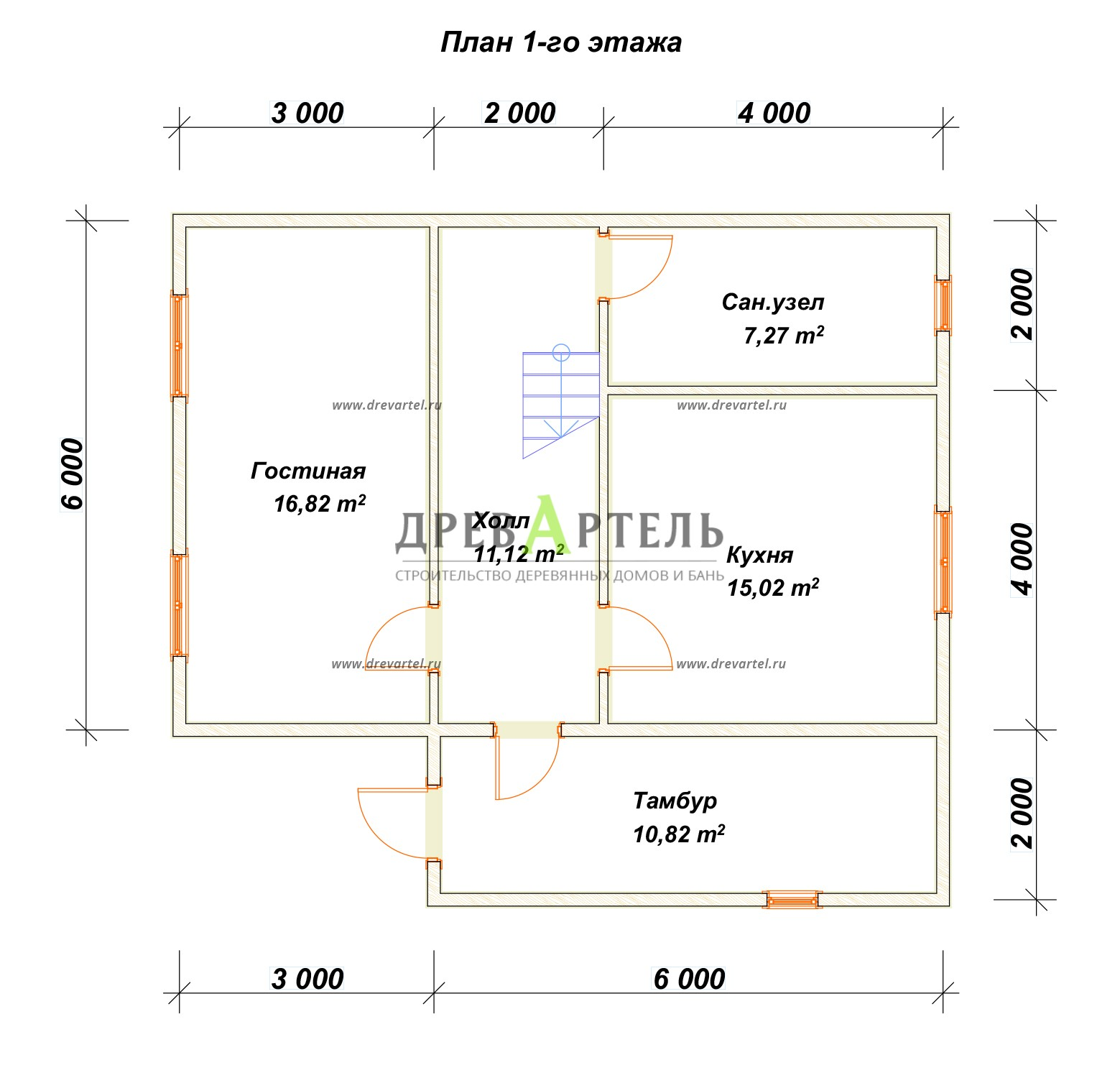 План 1-го этажа - Дачный дом из бруса 6х9 с мансардой
