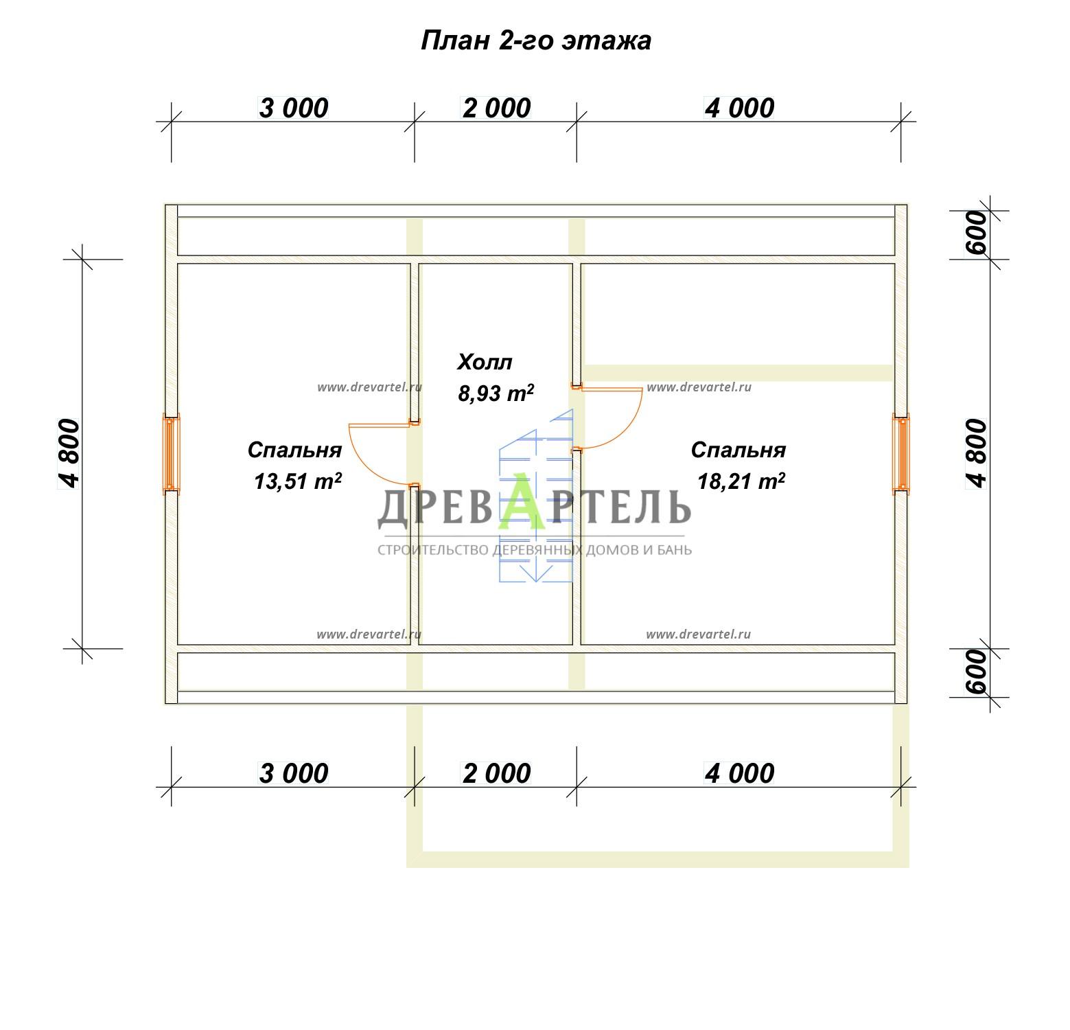 План 2-го этажа - Дачный дом из бруса 6х9 с мансардой