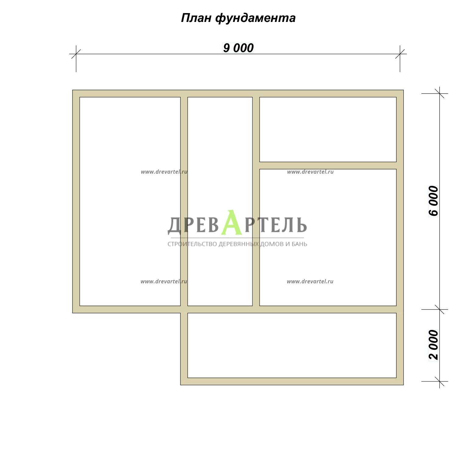 План ленточного фундамента - Дачный дом из бруса 6х9 с мансардой