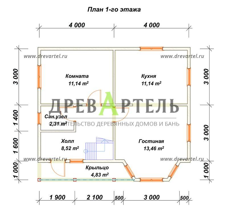 План 1-го этажа - Дом из профилированного бруса 6х8