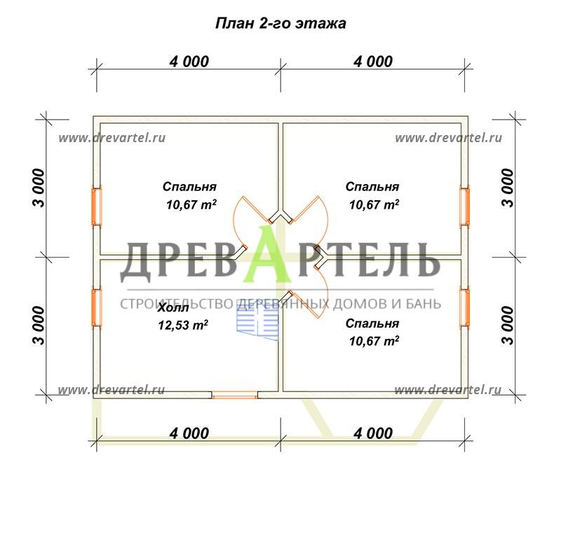 План 2-го этажа - Дом из профилированного бруса 6х8