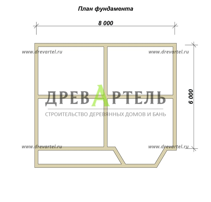 План ленточного фундамента - Дом из профилированного бруса 6х8