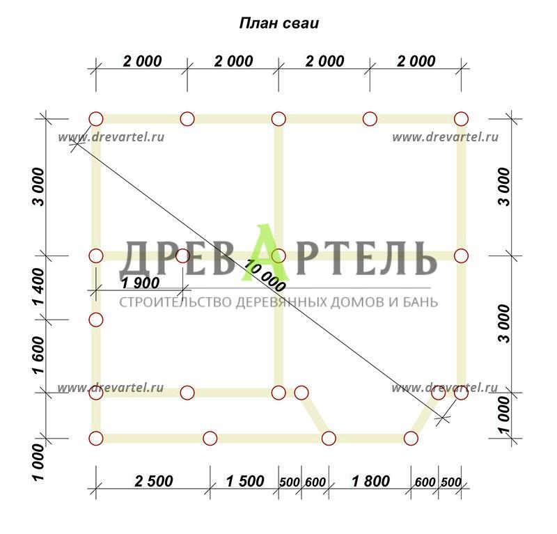 План свайного фундамента - Дом из профилированного бруса 6х8