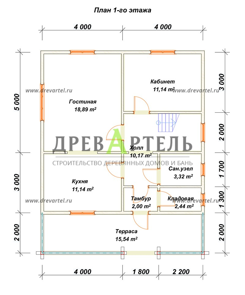 План 1-го этажа - Деревянный дом 8х8 из бруса