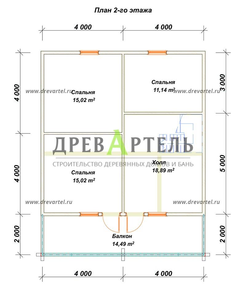 План 2-го этажа - Деревянный дом 8х8 из бруса