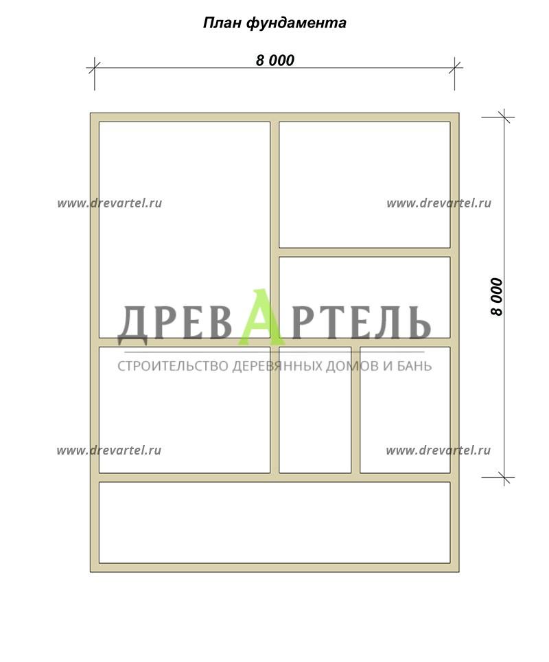 План ленточного фундамента - Деревянный дом 8х8 из бруса