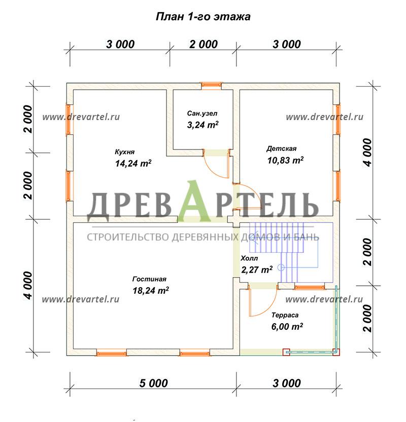 План 1-го этажа - Двухэтажный дом из бруса 8х8