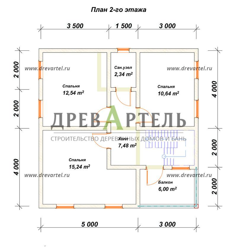 План 2-го этажа - Двухэтажный дом из бруса 8х8