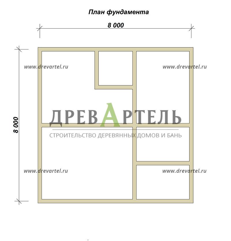 План ленточного фундамента - Двухэтажный дом из бруса 8х8