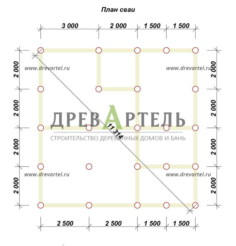 План свайного фундамента - Двухэтажный дом из бруса 8х8