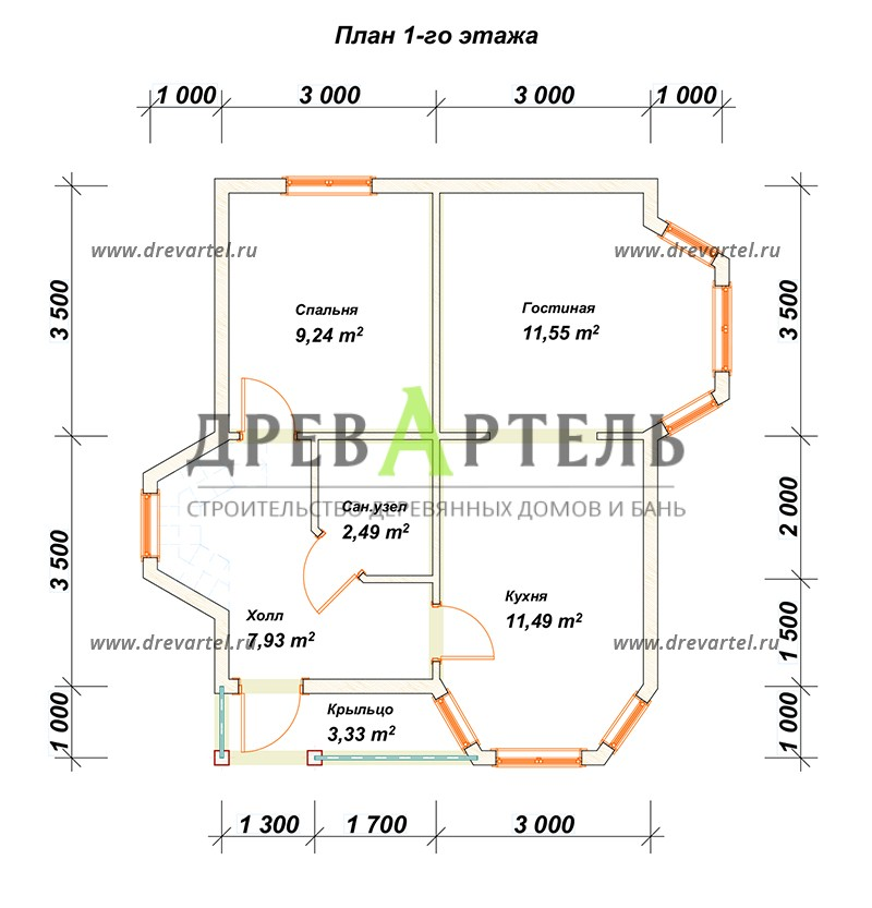 План 1-го этажа - Дом из бруса с мансардой 6х7