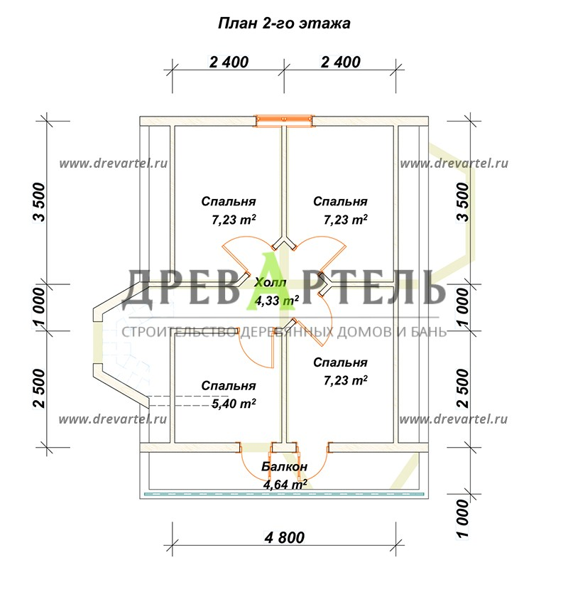 План 2-го этажа - Дом из бруса с мансардой 6х7