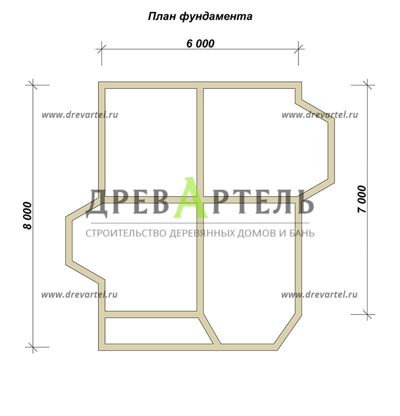 План ленточного фундамента - Дом из бруса с мансардой 6х7