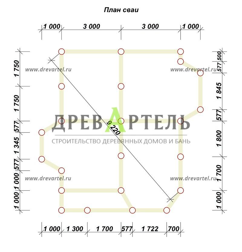 План свайного фундамента - Дом из бруса с мансардой 6х7