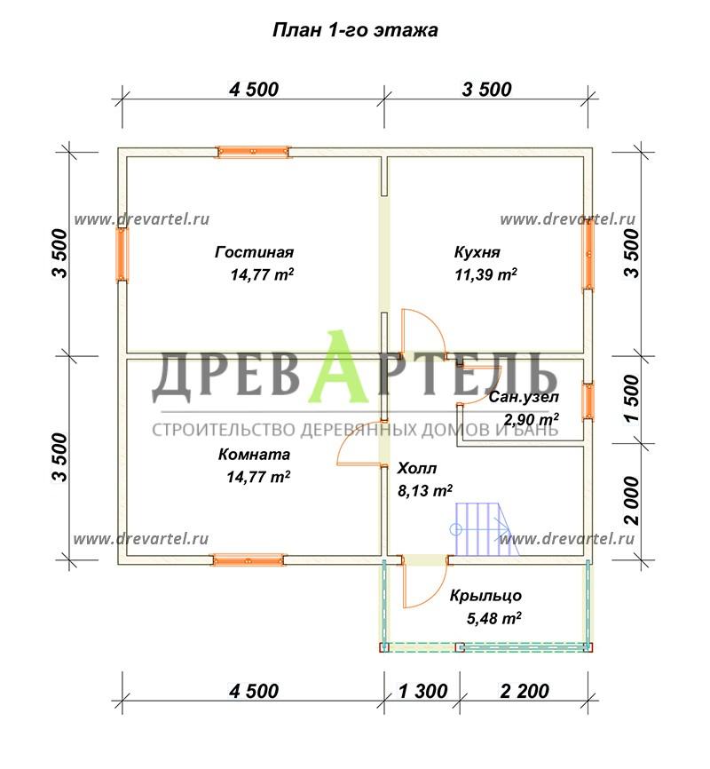 План 1-го этажа - Проект полутораэтжаного дома 7х8