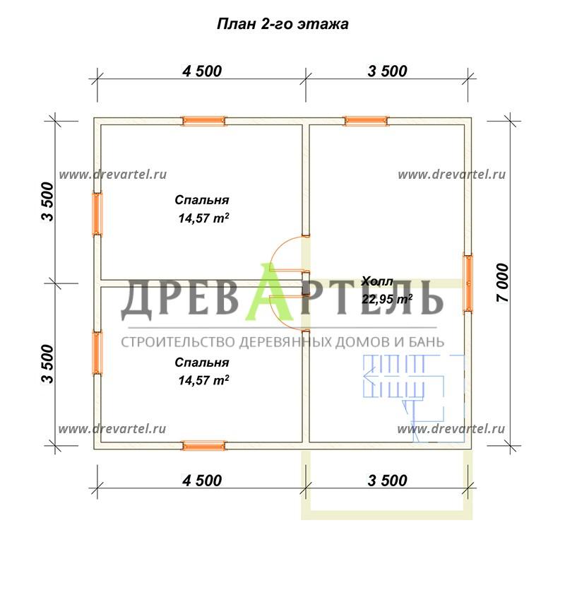 План 2-го этажа - Проект полутораэтжаного дома 7х8