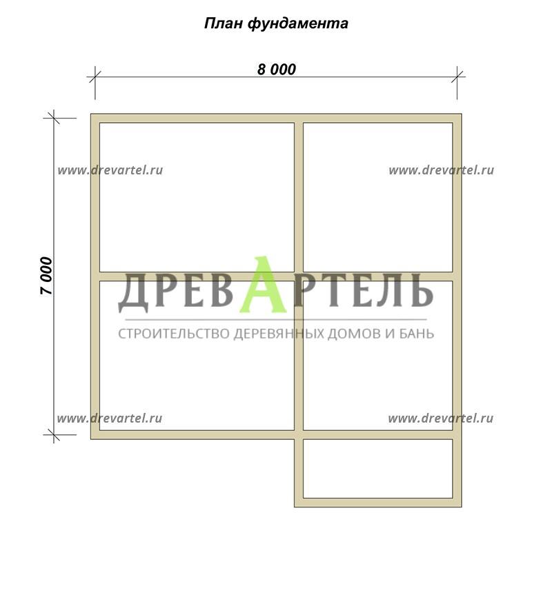 План ленточного фундамента - Проект полутораэтжаного дома 7х8