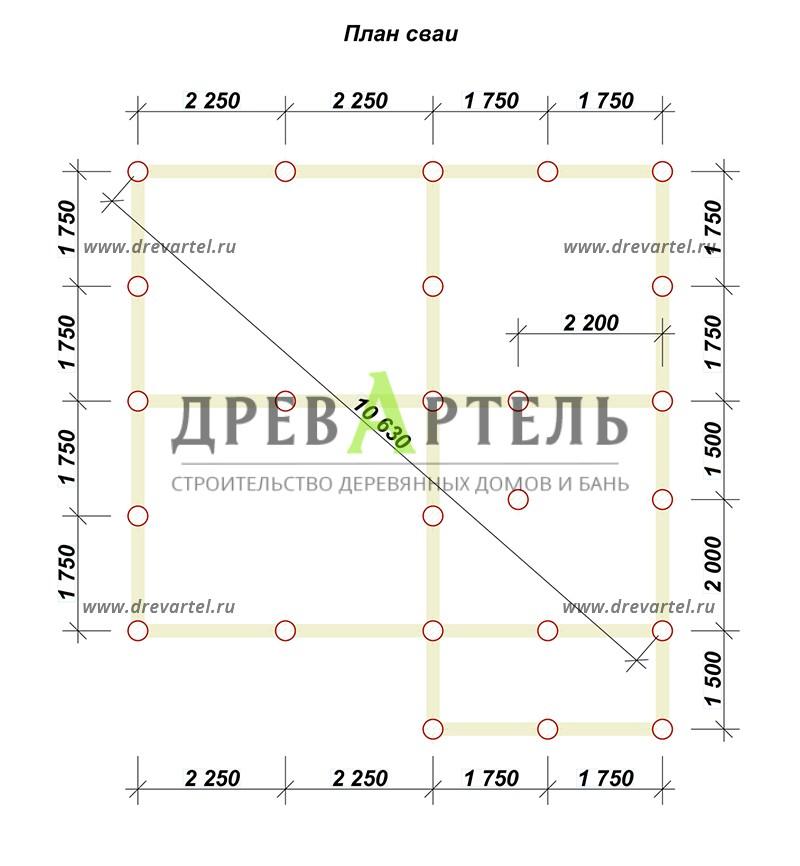 План свайного фундамента - Проект полутораэтжаного дома 7х8