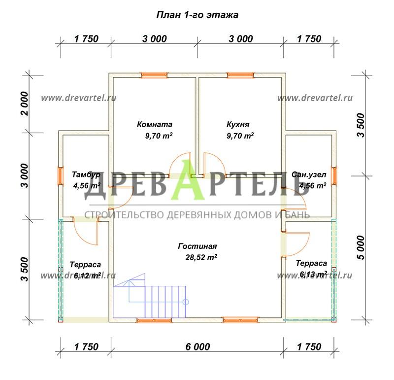 План 1-го этажа - Дом из бруса 6х8 с отличной планировкой