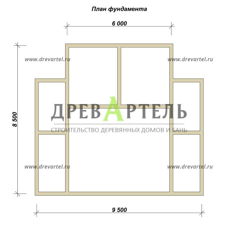 План ленточного фундамента - Дом из бруса 6х8 с отличной планировкой