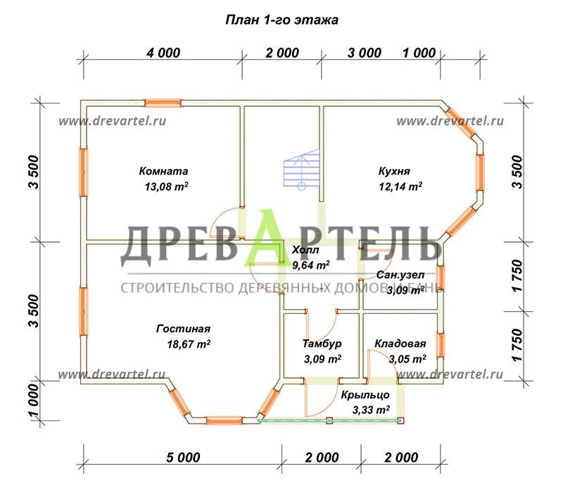 План 1-го этажа - Полутораэтажный дом из бруса 7х9