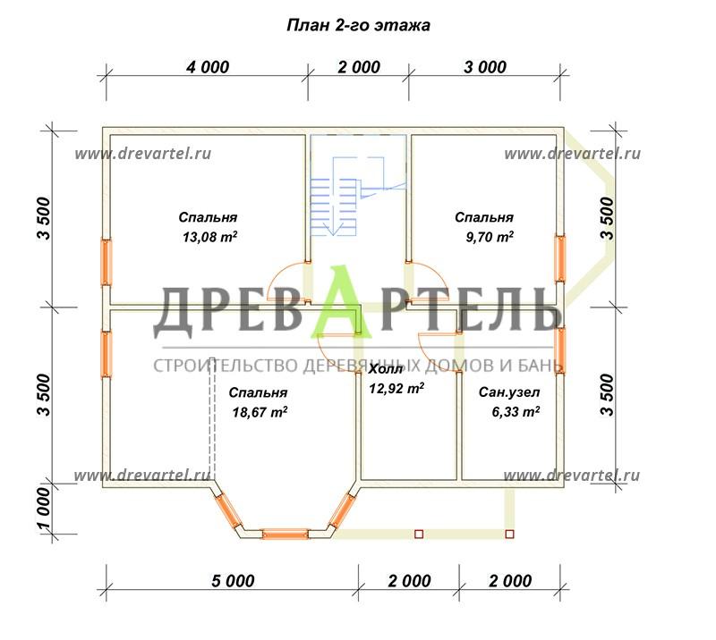 План 2-го этажа - Полутораэтажный дом из бруса 7х9