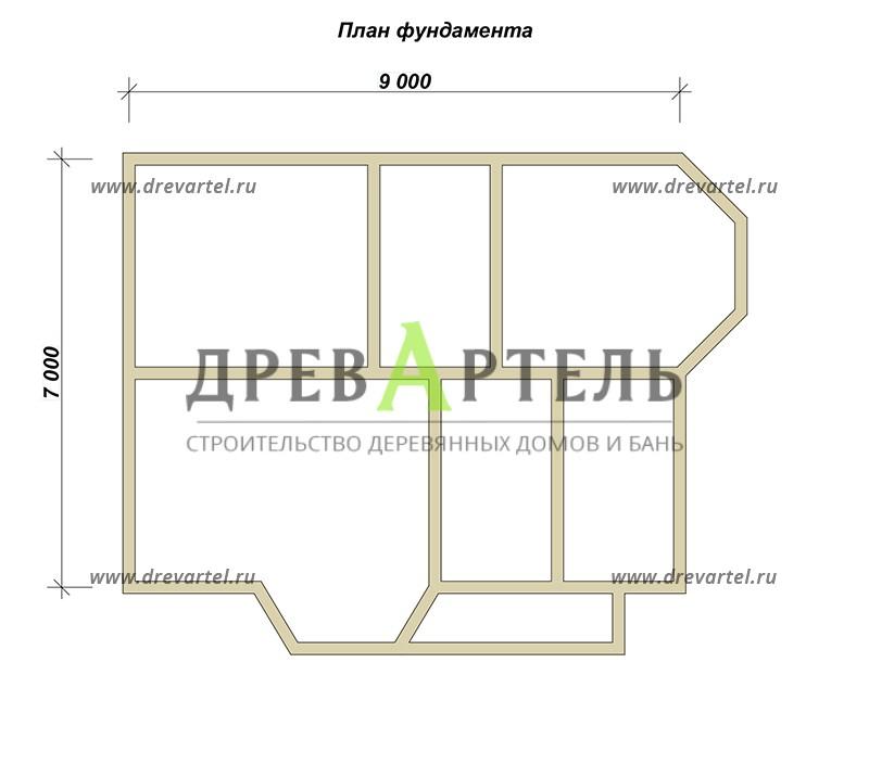 План ленточного фундамента - Полутораэтажный дом из бруса 7х9