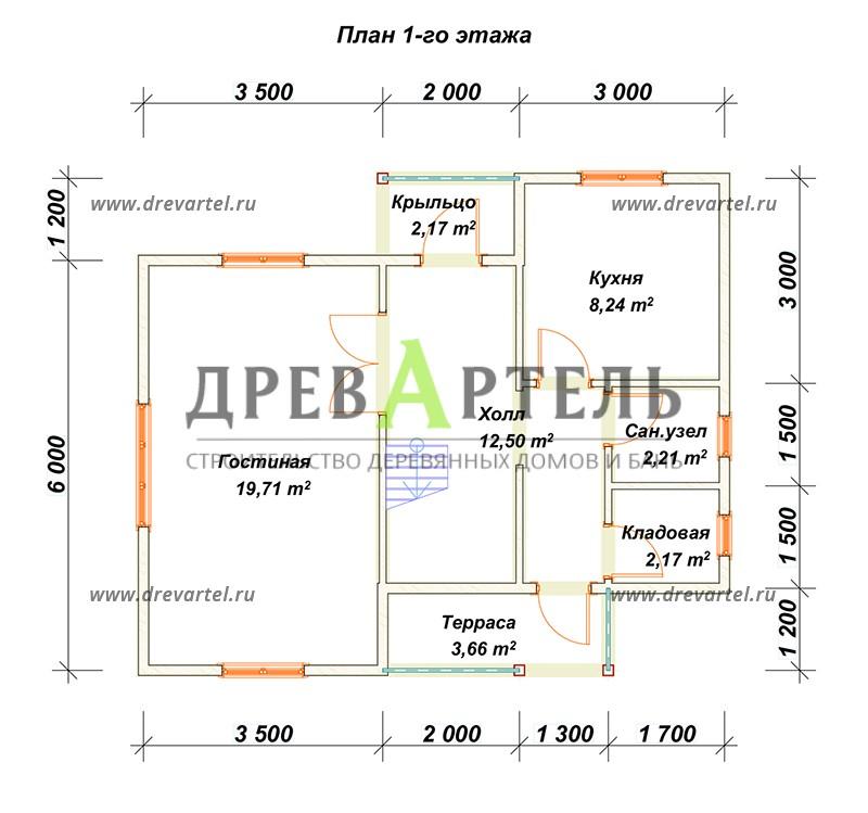 План 1-го этажа - Загородный дом из бруса 7х8