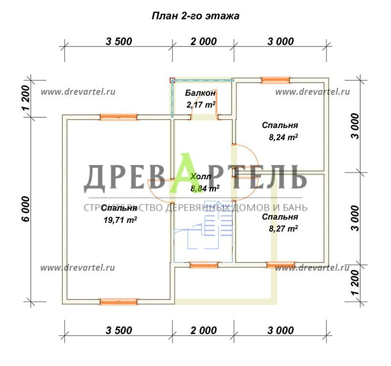 План 2-го этажа - Загородный дом из бруса 7х8