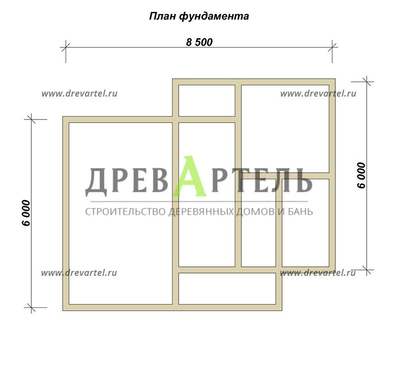 План ленточного фундамента - Загородный дом из бруса 7х8