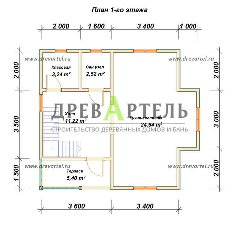 План 1-го этажа - Дом из бруса 7х8 – цена