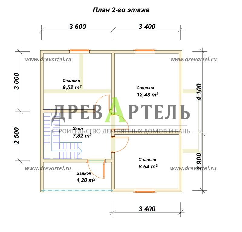 План 2-го этажа - Дом из бруса 7х8 – цена